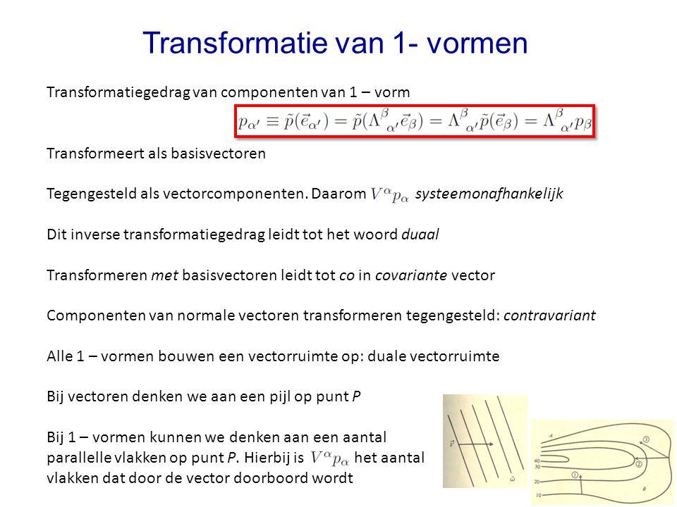Transformatiegedrag van componenten van 1 – vorm Transformeert als basisvectoren Tegengesteld als vectorcomponenten. Daarom systeemonafhankelijk Dit i