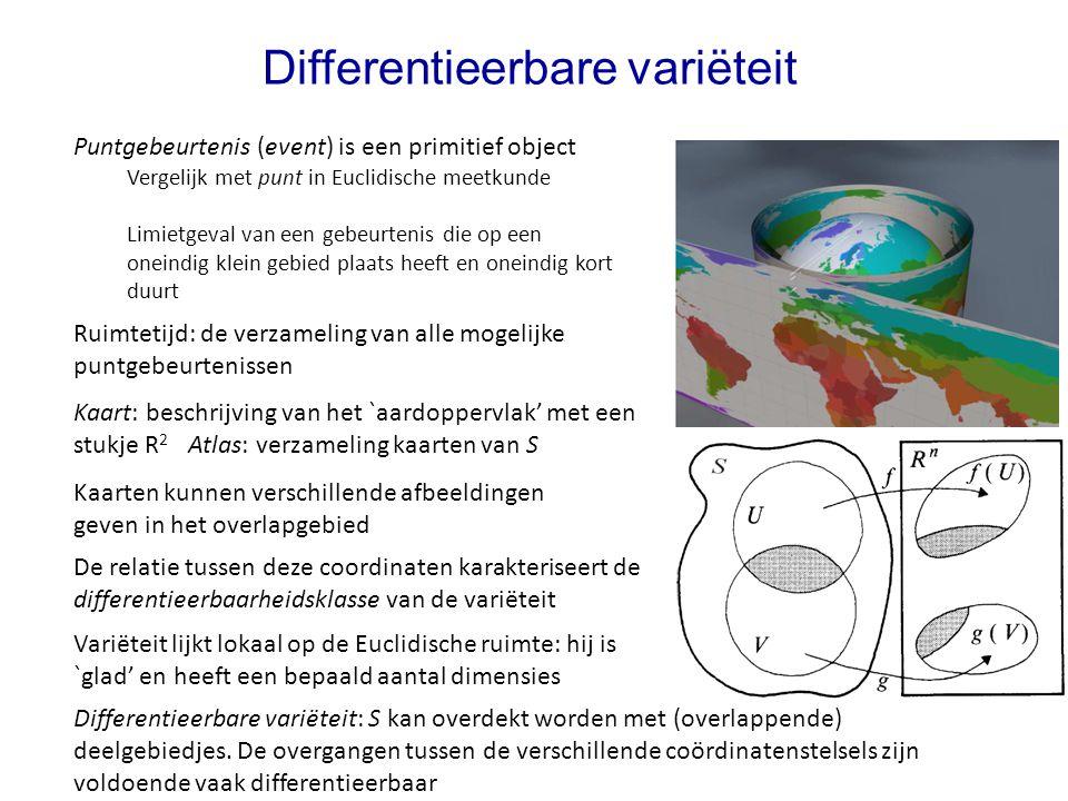 Differentieerbare variëteit Puntgebeurtenis (event) is een primitief object Vergelijk met punt in Euclidische meetkunde Limietgeval van een gebeurteni