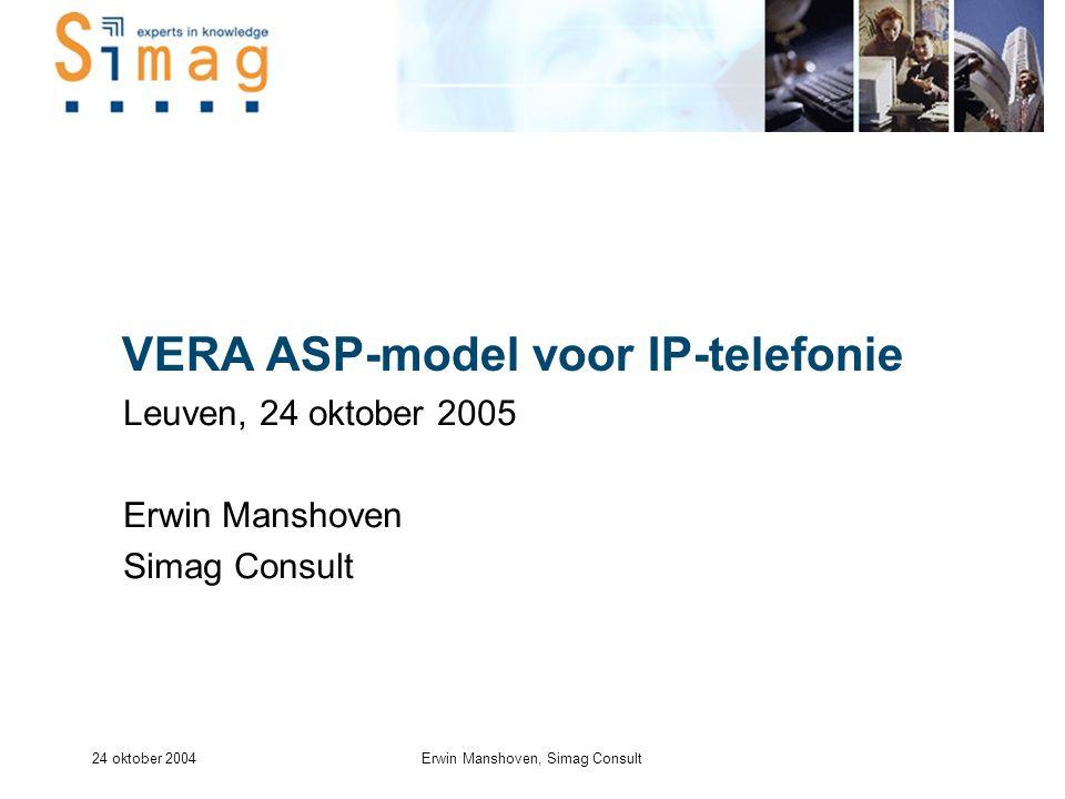 24 oktober 2004Erwin Manshoven, Simag Consult VERA ASP-model voor IP-telefonie Leuven, 24 oktober 2005 Erwin Manshoven Simag Consult