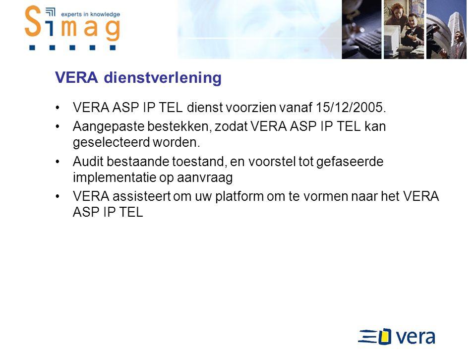 VERA dienstverlening VERA ASP IP TEL dienst voorzien vanaf 15/12/2005.