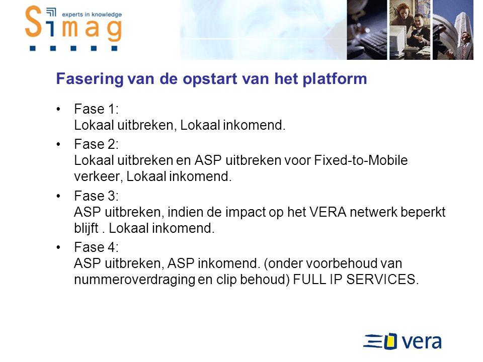 Fasering van de opstart van het platform Fase 1: Lokaal uitbreken, Lokaal inkomend.
