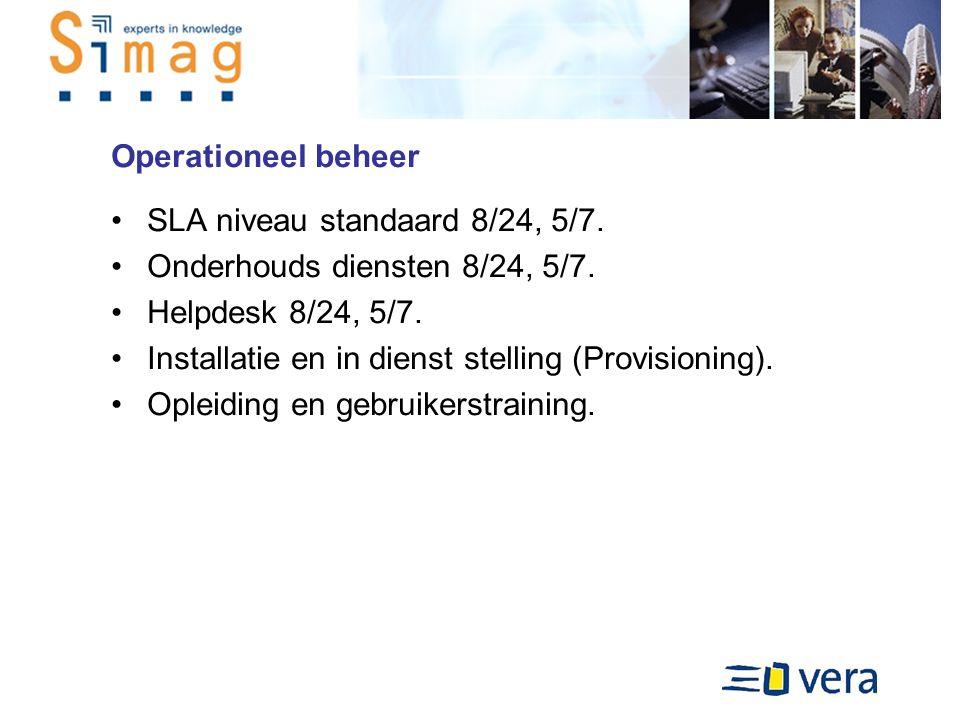 Operationeel beheer SLA niveau standaard 8/24, 5/7.