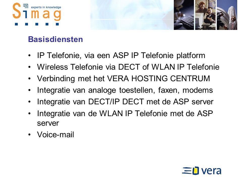 Basisdiensten IP Telefonie, via een ASP IP Telefonie platform Wireless Telefonie via DECT of WLAN IP Telefonie Verbinding met het VERA HOSTING CENTRUM