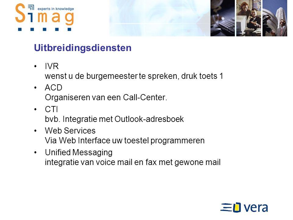 Uitbreidingsdiensten IVR wenst u de burgemeester te spreken, druk toets 1 ACD Organiseren van een Call-Center.