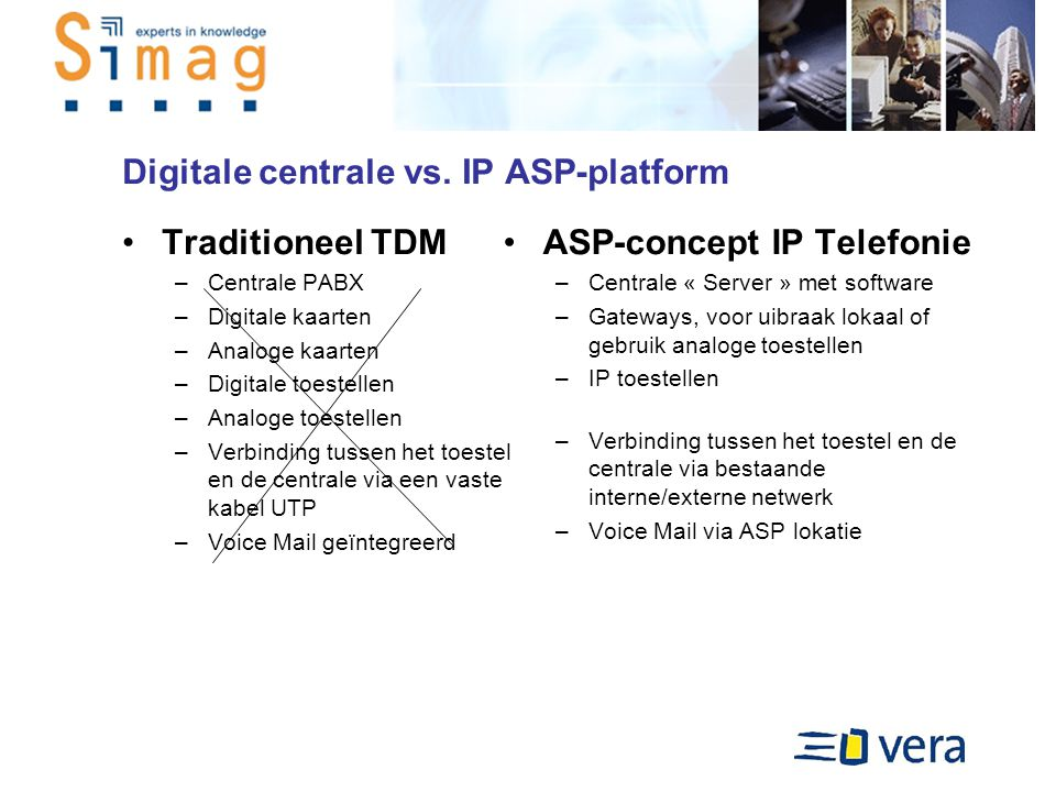 Digitale centrale vs. IP ASP-platform Traditioneel TDM –Centrale PABX –Digitale kaarten –Analoge kaarten –Digitale toestellen –Analoge toestellen –Ver