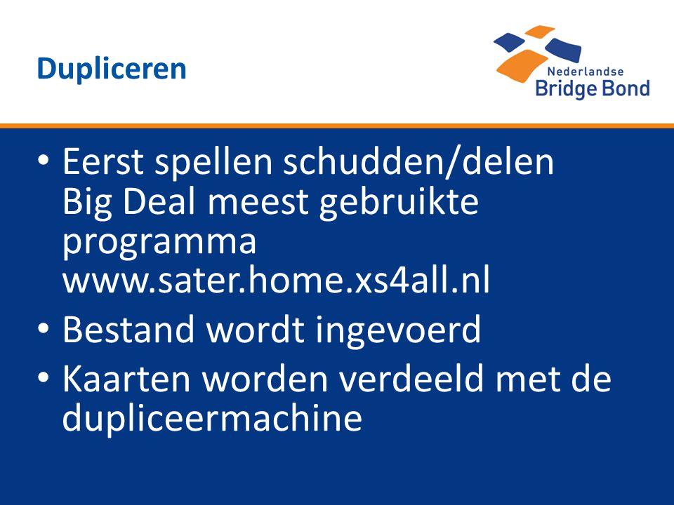 Eerst spellen schudden/delen Big Deal meest gebruikte programma www.sater.home.xs4all.nl Bestand wordt ingevoerd Kaarten worden verdeeld met de duplic