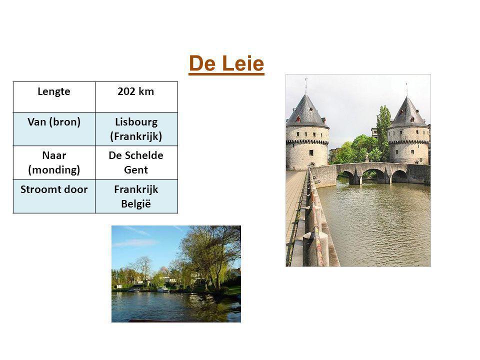 De Leie Lengte202 km Van (bron)Lisbourg (Frankrijk) Naar (monding) De Schelde Gent Stroomt doorFrankrijk België