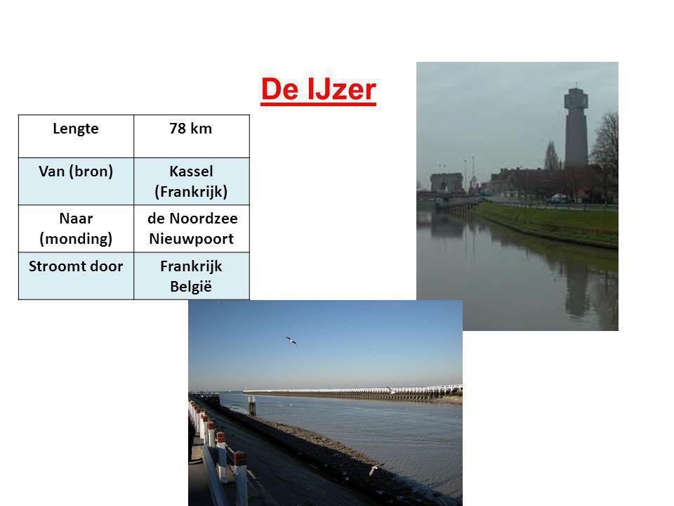 De IJzer Lengte78 km Van (bron)Kassel (Frankrijk) Naar (monding) de Noordzee Nieuwpoort Stroomt doorFrankrijk België