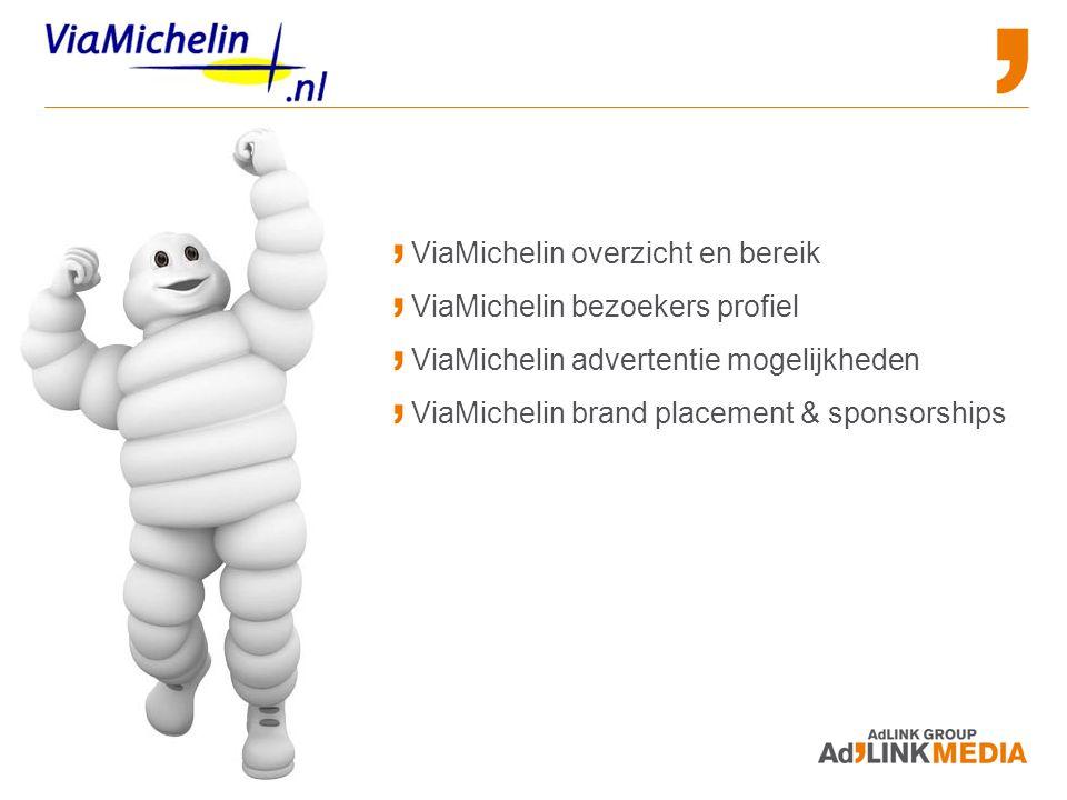 ViaMichelin overzicht en bereik ViaMichelin bezoekers profiel ViaMichelin advertentie mogelijkheden ViaMichelin brand placement & sponsorships