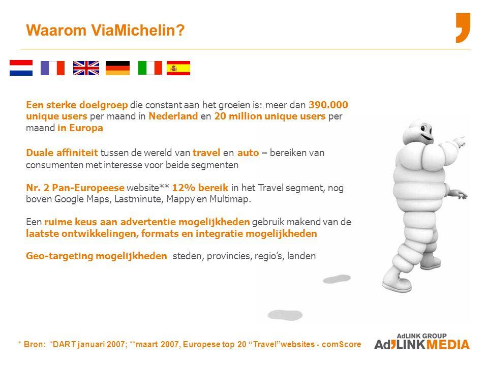 Een sterke doelgroep die constant aan het groeien is: meer dan 390.000 unique users per maand in Nederland en 20 million unique users per maand in Europa Duale affiniteit tussen de wereld van travel en auto – bereiken van consumenten met interesse voor beide segmenten Nr.