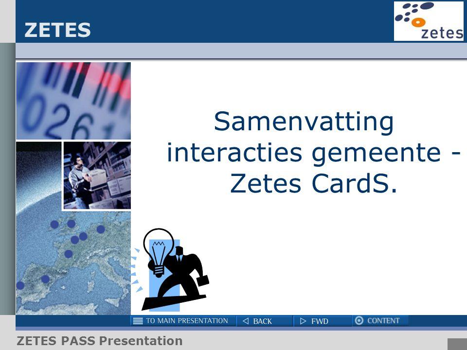 ZETES ZETES PASS Presentation Samenvatting interacties gemeente - Zetes CardS.