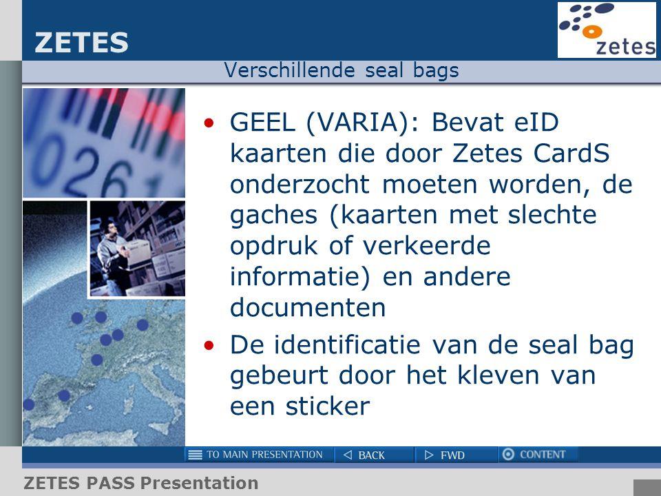 ZETES ZETES PASS Presentation Verschillende seal bags GEEL (VARIA): Bevat eID kaarten die door Zetes CardS onderzocht moeten worden, de gaches (kaarte