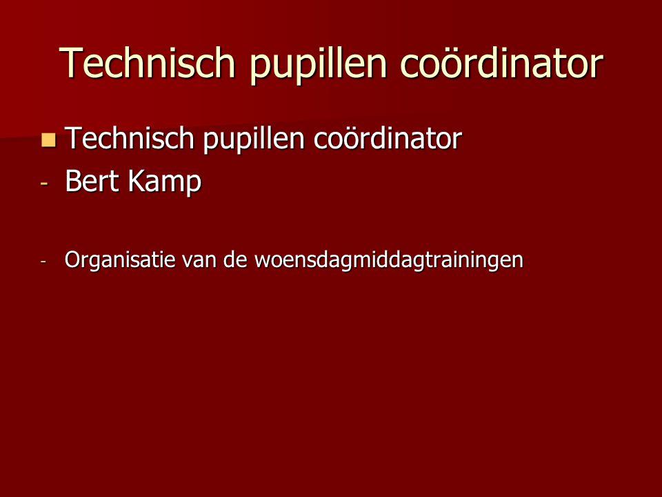 Technisch pupillen coördinator Technisch pupillen coördinator Technisch pupillen coördinator - Bert Kamp - Organisatie van de woensdagmiddagtrainingen