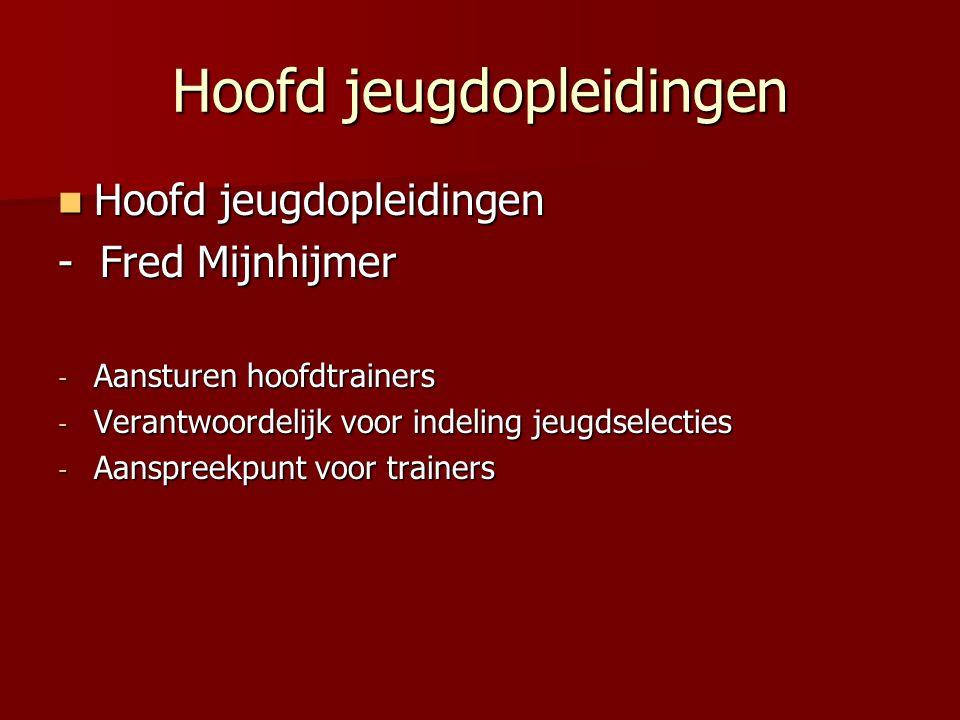 Hoofd jeugdopleidingen Hoofd jeugdopleidingen Hoofd jeugdopleidingen - Fred Mijnhijmer - Aansturen hoofdtrainers - Verantwoordelijk voor indeling jeug