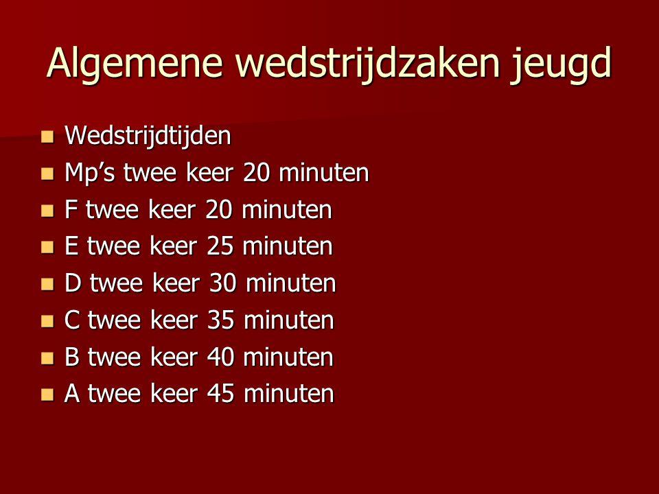 Algemene wedstrijdzaken jeugd Wedstrijdtijden Wedstrijdtijden Mp's twee keer 20 minuten Mp's twee keer 20 minuten F twee keer 20 minuten F twee keer 2