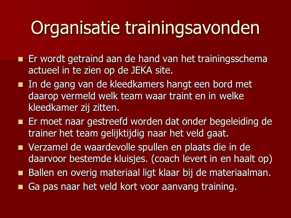 Organisatie trainingsavonden Er wordt getraind aan de hand van het trainingsschema actueel in te zien op de JEKA site. Er wordt getraind aan de hand v