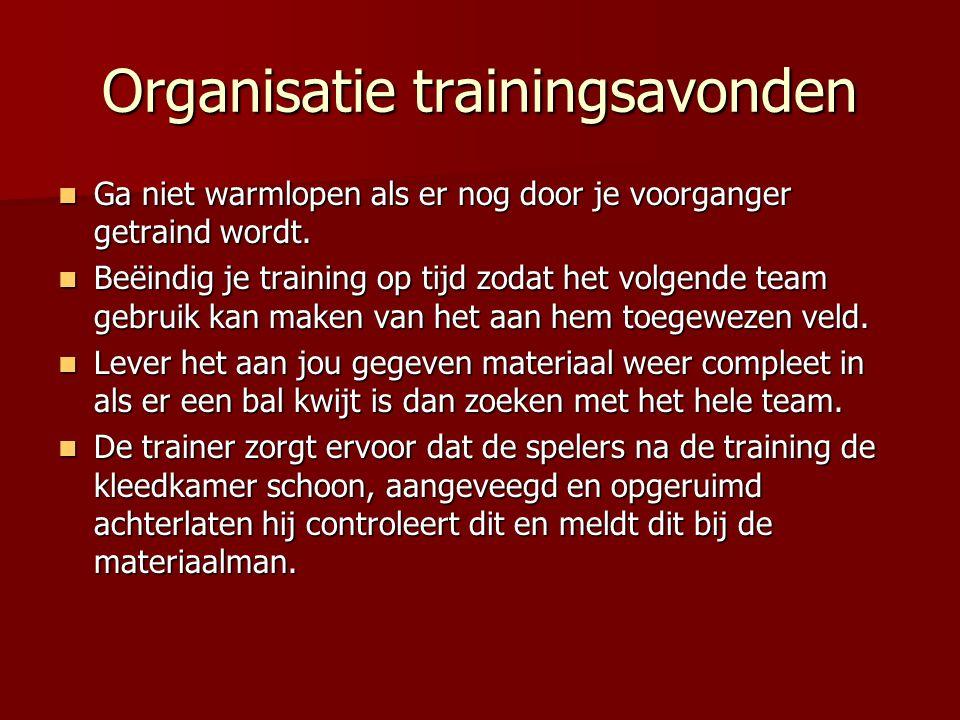 Organisatie trainingsavonden Ga niet warmlopen als er nog door je voorganger getraind wordt. Ga niet warmlopen als er nog door je voorganger getraind