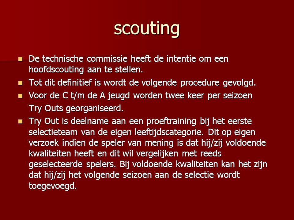 scouting De technische commissie heeft de intentie om een hoofdscouting aan te stellen. De technische commissie heeft de intentie om een hoofdscouting