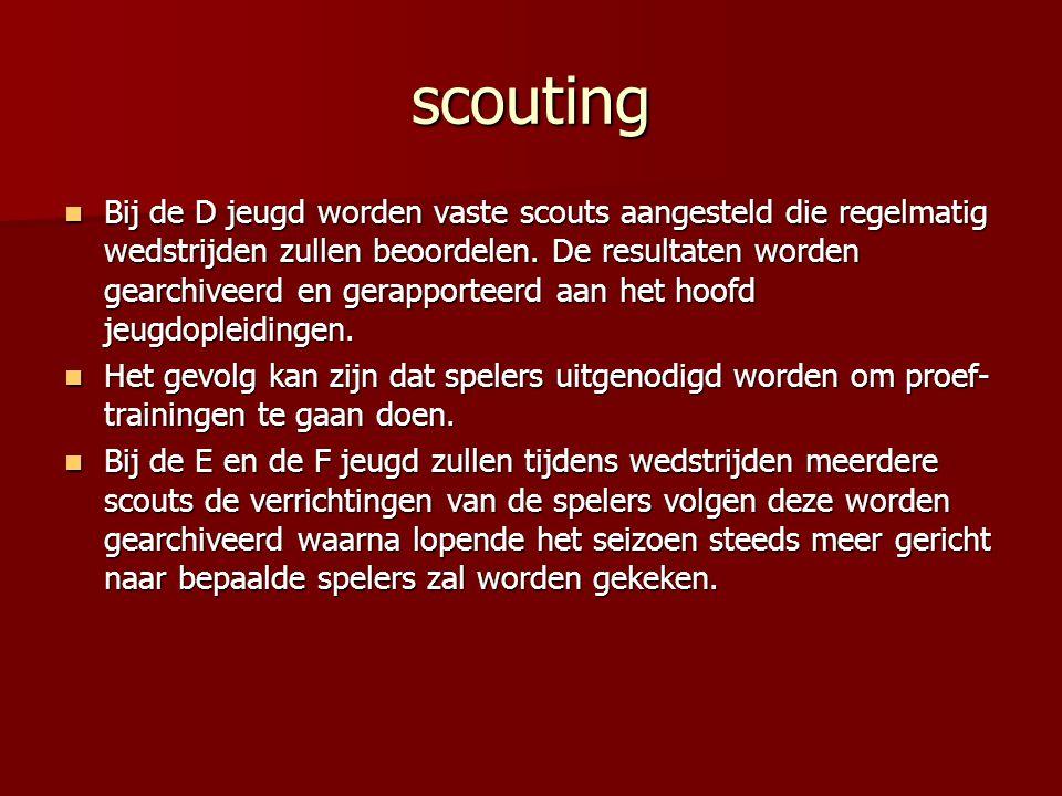 scouting Bij de D jeugd worden vaste scouts aangesteld die regelmatig wedstrijden zullen beoordelen. De resultaten worden gearchiveerd en gerapporteer
