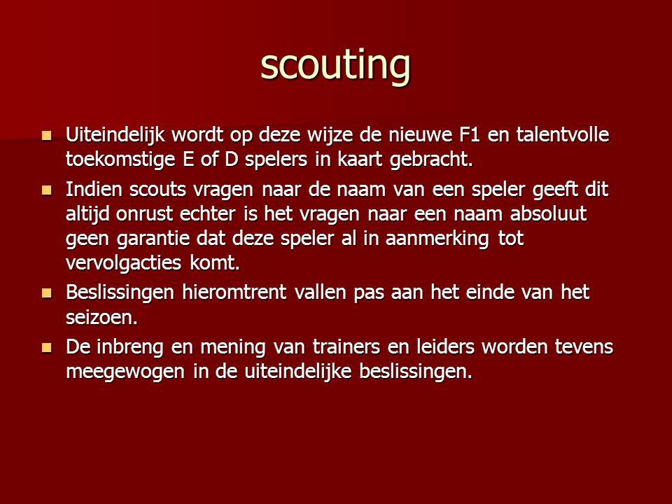 scouting Uiteindelijk wordt op deze wijze de nieuwe F1 en talentvolle toekomstige E of D spelers in kaart gebracht. Uiteindelijk wordt op deze wijze d