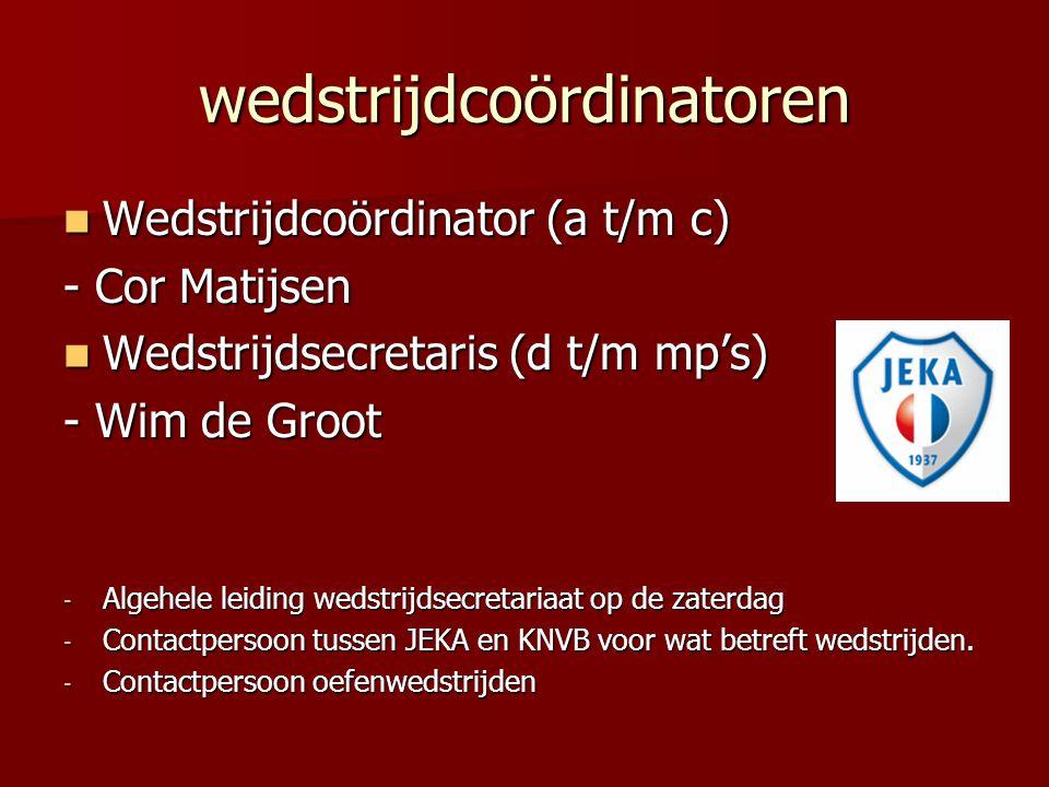 wedstrijdcoördinatoren Wedstrijdcoördinator (a t/m c) Wedstrijdcoördinator (a t/m c) - Cor Matijsen Wedstrijdsecretaris (d t/m mp's) Wedstrijdsecretar