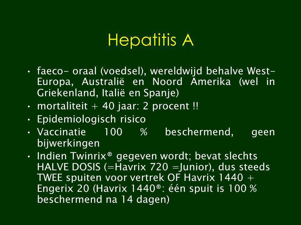 Hepatitis A faeco- oraal (voedsel), wereldwijd behalve West- Europa, Australië en Noord Amerika (wel in Griekenland, Italië en Spanje) mortaliteit + 4