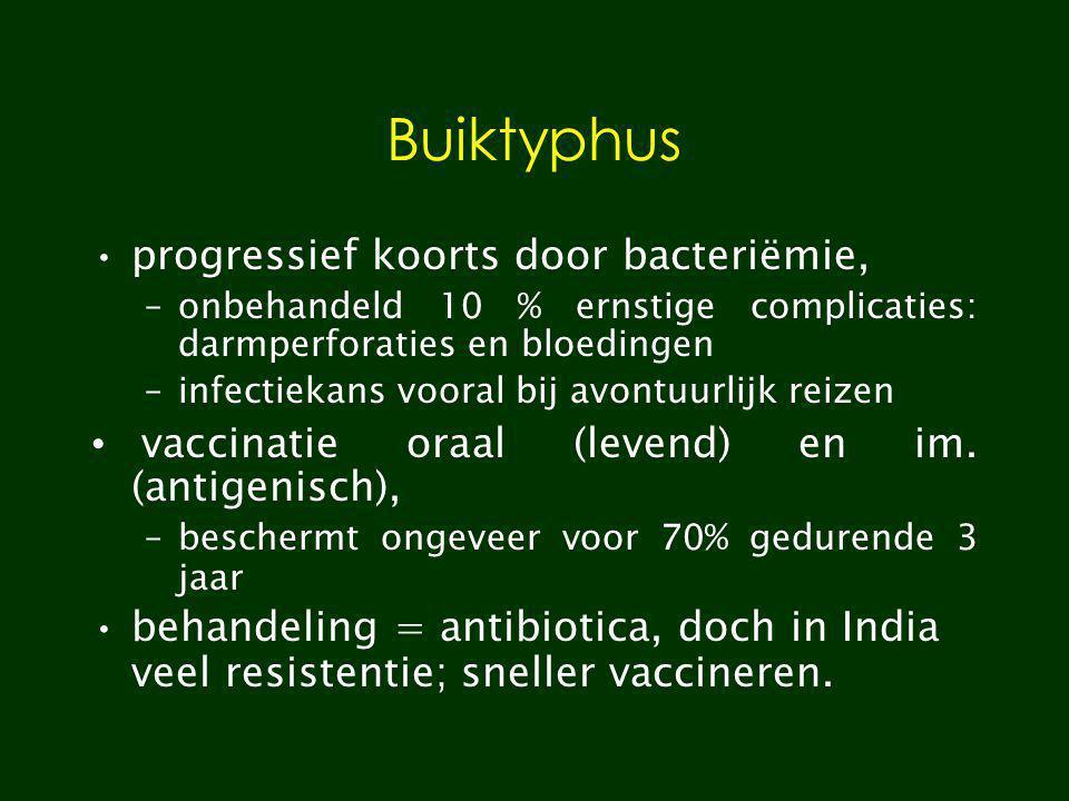 Buiktyphus progressief koorts door bacteriëmie, –onbehandeld 10 % ernstige complicaties: darmperforaties en bloedingen –infectiekans vooral bij avontu