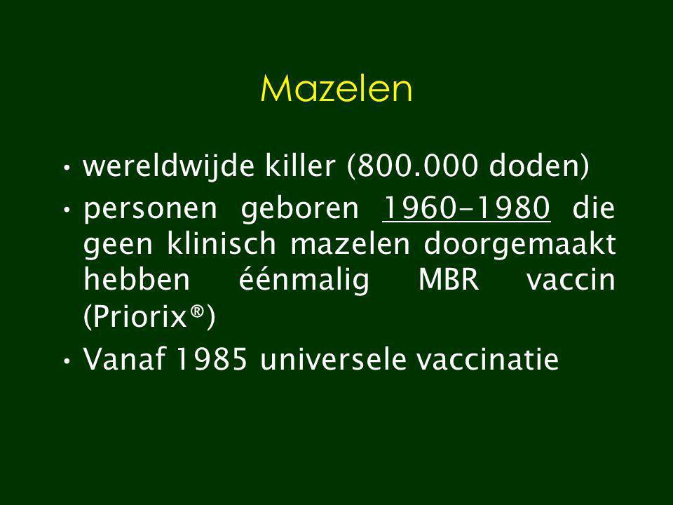 Mazelen wereldwijde killer (800.000 doden) personen geboren 1960-1980 die geen klinisch mazelen doorgemaakt hebben éénmalig MBR vaccin (Priorix®) Vana