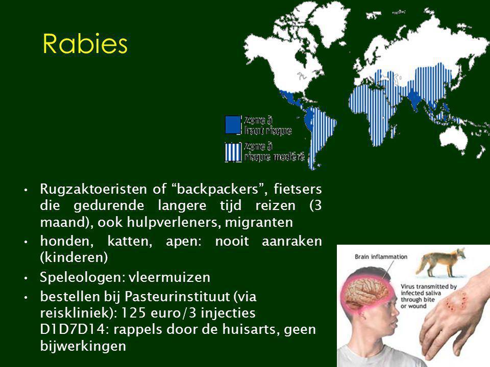 """Rabies Rugzaktoeristen of """"backpackers"""", fietsers die gedurende langere tijd reizen (3 maand), ook hulpverleners, migranten honden, katten, apen: nooi"""