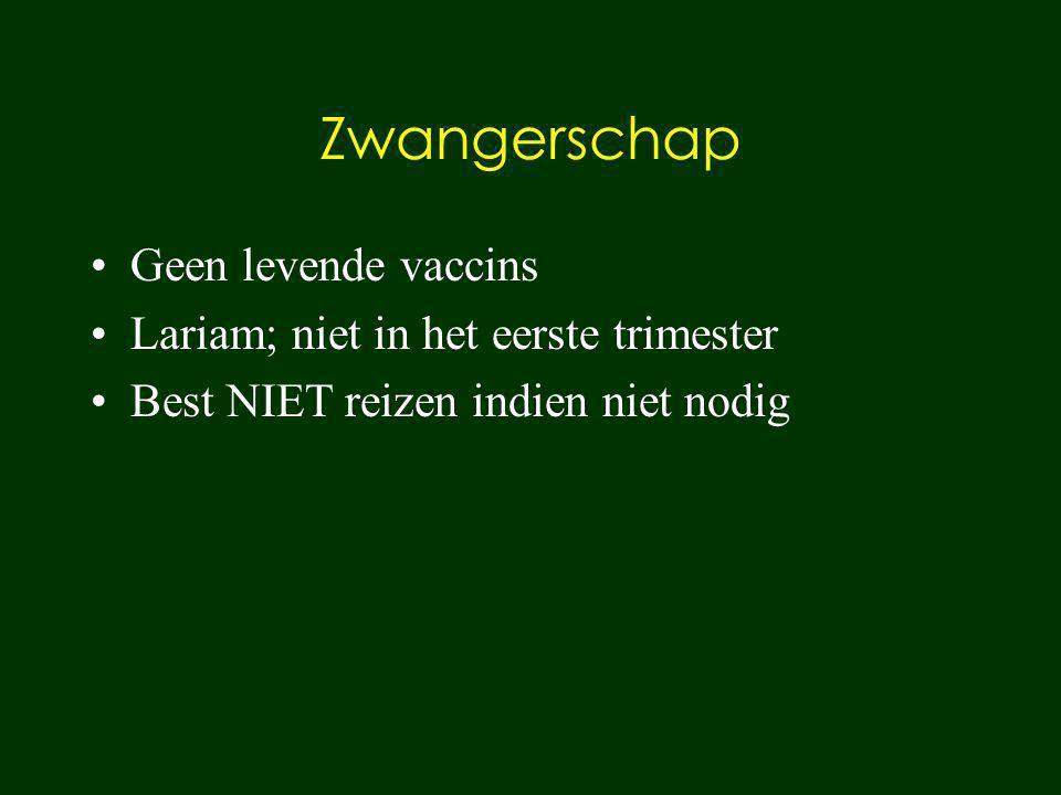 Zwangerschap Geen levende vaccins Lariam; niet in het eerste trimester Best NIET reizen indien niet nodig