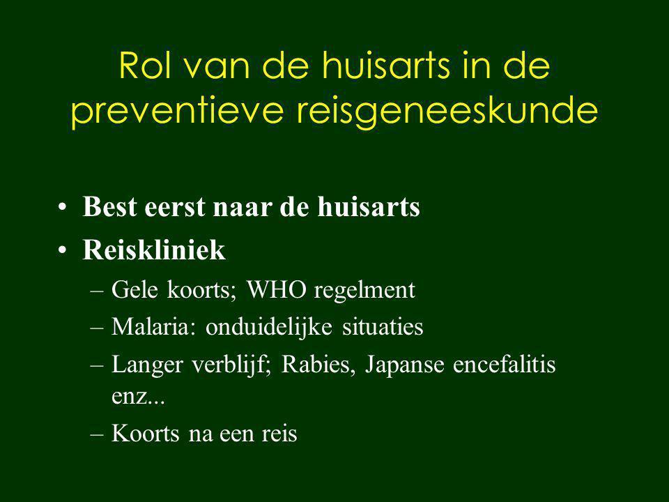 Rol van de huisarts in de preventieve reisgeneeskunde Best eerst naar de huisarts Reiskliniek –Gele koorts; WHO regelment –Malaria: onduidelijke situa