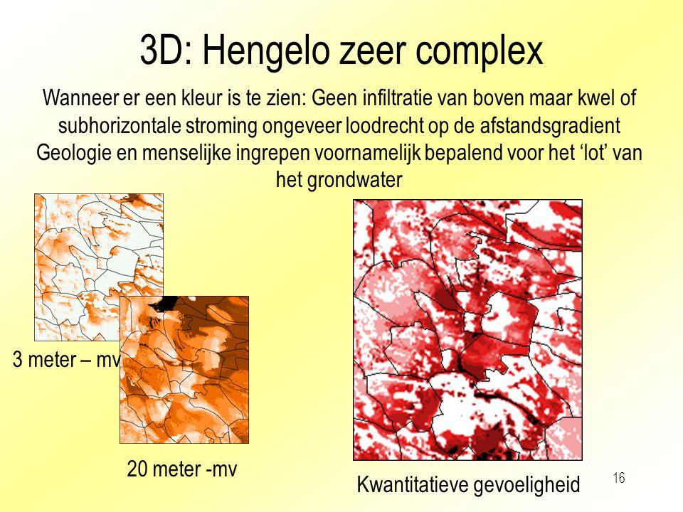 16 3D: Hengelo zeer complex Wanneer er een kleur is te zien: Geen infiltratie van boven maar kwel of subhorizontale stroming ongeveer loodrecht op de