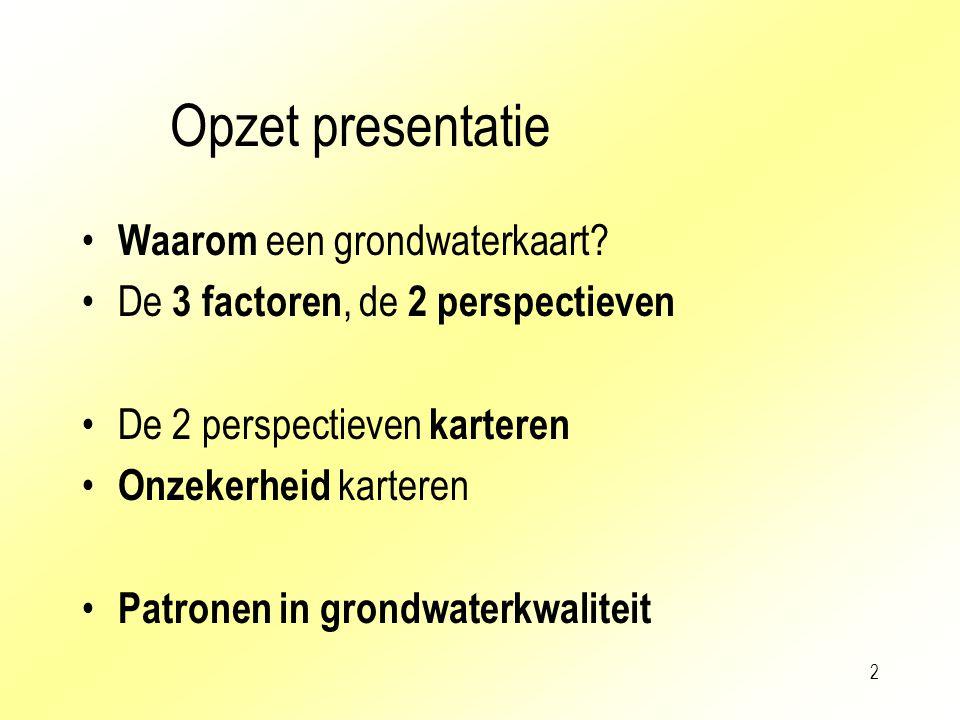 2 Opzet presentatie Waarom een grondwaterkaart? De 3 factoren, de 2 perspectieven De 2 perspectieven karteren Onzekerheid karteren Patronen in grondwa