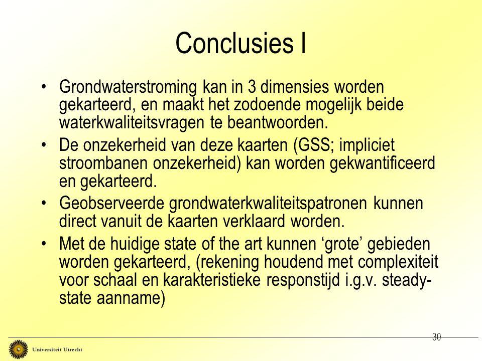 30 Conclusies I Grondwaterstroming kan in 3 dimensies worden gekarteerd, en maakt het zodoende mogelijk beide waterkwaliteitsvragen te beantwoorden. D
