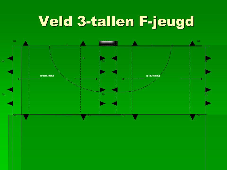 Veld 3-tallen F-jeugd 2m 5m. 2m 5m 2m 5m speelrichting