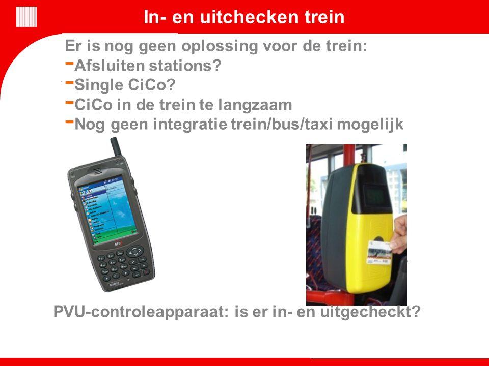 In- en uitchecken trein Er is nog geen oplossing voor de trein: - Afsluiten stations? - Single CiCo? - CiCo in de trein te langzaam - Nog geen integra