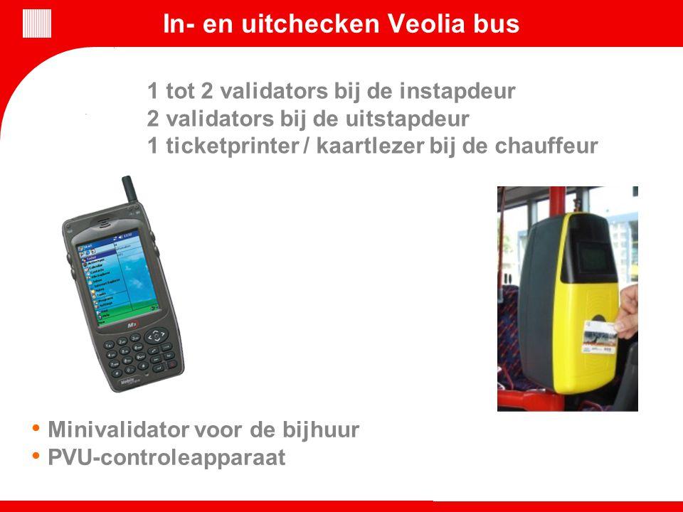 In- en uitchecken Veolia bus Minivalidator voor de bijhuur PVU-controleapparaat 1 tot 2 validators bij de instapdeur 2 validators bij de uitstapdeur 1
