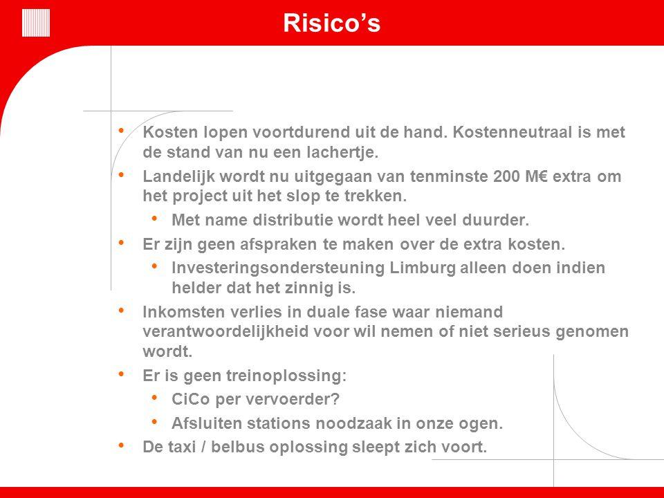 Risico's Kosten lopen voortdurend uit de hand. Kostenneutraal is met de stand van nu een lachertje. Landelijk wordt nu uitgegaan van tenminste 200 M€