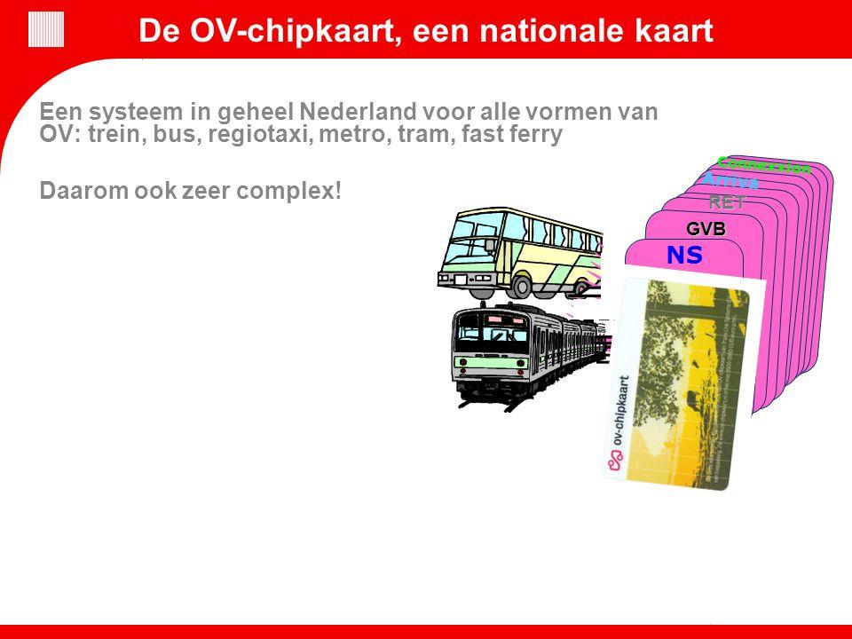 NS Arriva Connexxion Een systeem in geheel Nederland voor alle vormen van OV: trein, bus, regiotaxi, metro, tram, fast ferry Daarom ook zeer complex!