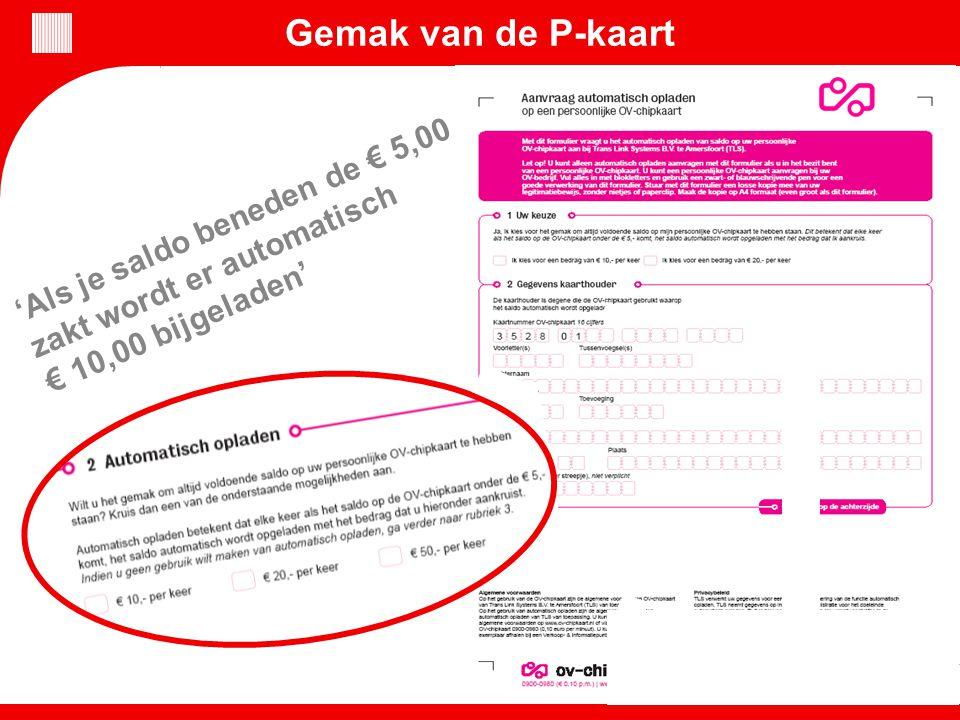 Gemak van de P-kaart 'Als je saldo beneden de € 5,00 zakt wordt er automatisch € 10,00 bijgeladen'