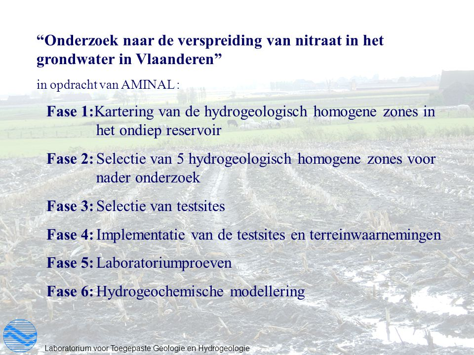 """Laboratorium voor Toegepaste Geologie en Hydrogeologie """"Onderzoek naar de verspreiding van nitraat in het grondwater in Vlaanderen"""" in opdracht van AM"""