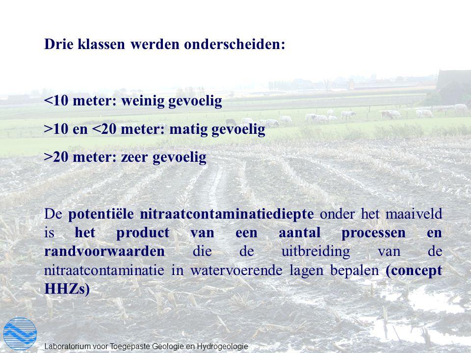 Laboratorium voor Toegepaste Geologie en Hydrogeologie Drie klassen werden onderscheiden: <10 meter: weinig gevoelig >10 en <20 meter: matig gevoelig