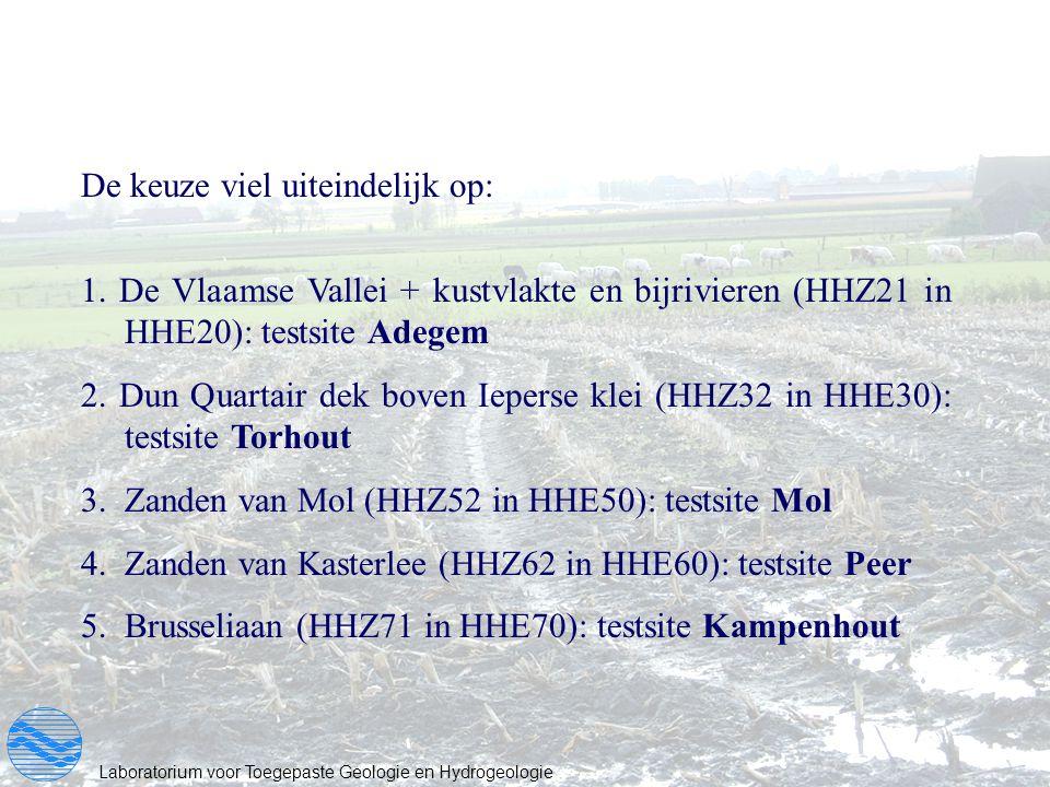 Laboratorium voor Toegepaste Geologie en Hydrogeologie De keuze viel uiteindelijk op: 1. De Vlaamse Vallei + kustvlakte en bijrivieren (HHZ21 in HHE20