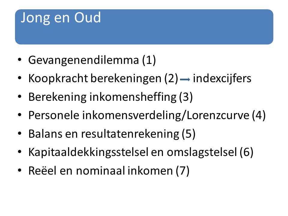 Jong en Oud Gevangenendilemma (1) Koopkracht berekeningen (2) indexcijfers Berekening inkomensheffing (3) Personele inkomensverdeling/Lorenzcurve (4)