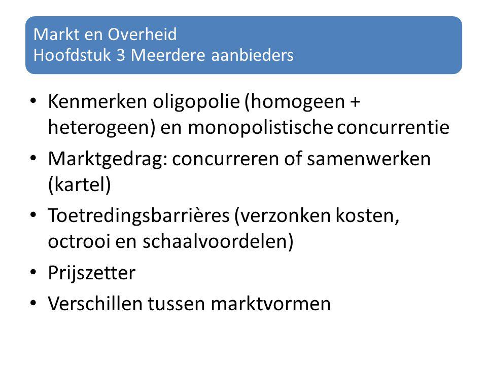 Markt en Overheid Hoofdstuk 3 Meerdere aanbieders Kenmerken oligopolie (homogeen + heterogeen) en monopolistische concurrentie Marktgedrag: concurrere