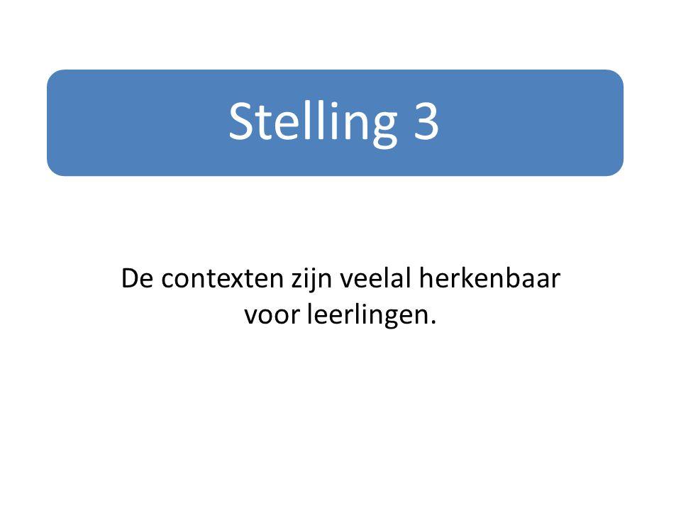 Stelling 3 De contexten zijn veelal herkenbaar voor leerlingen.