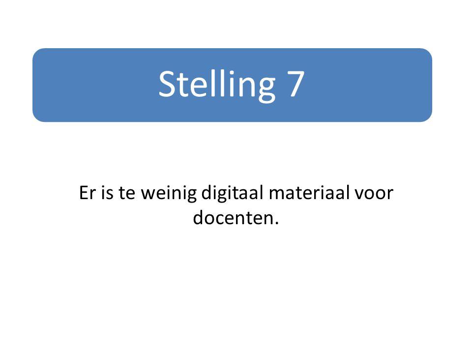 Stelling 7 Er is te weinig digitaal materiaal voor docenten.