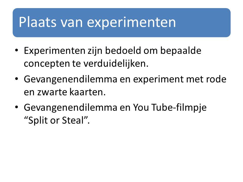 Plaats van experimenten Experimenten zijn bedoeld om bepaalde concepten te verduidelijken. Gevangenendilemma en experiment met rode en zwarte kaarten.