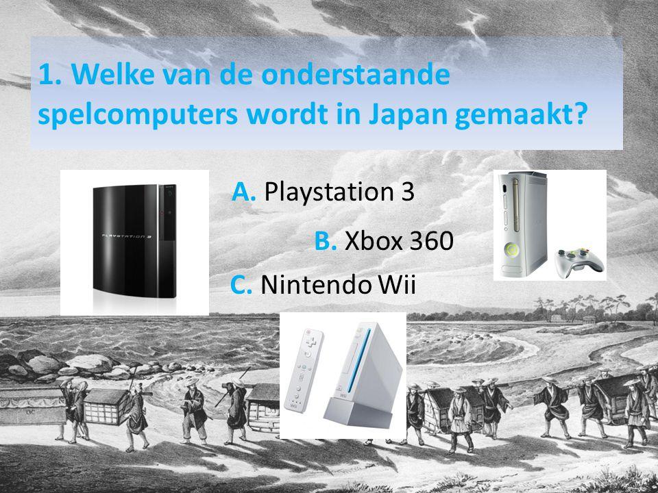 1. Welke van de onderstaande spelcomputers wordt in Japan gemaakt.