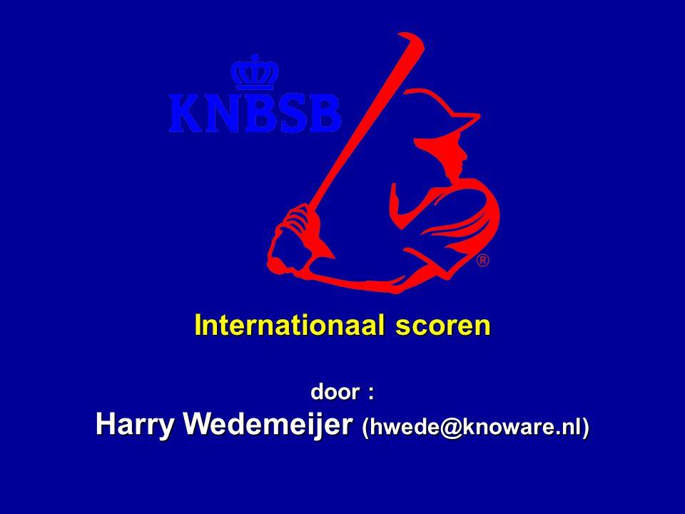 Opfriscursus internationaal scoren Unificatie: Nederland en Italië waren enige uitzonderingen binnen Europa Internationale contacten (EC, WPT) Buitenlandse spelers en coaches bij Nederlandse verenigingen Computer-programma s (zoals Turbo Stats en Score-It) Waarom internationaal scoren ?